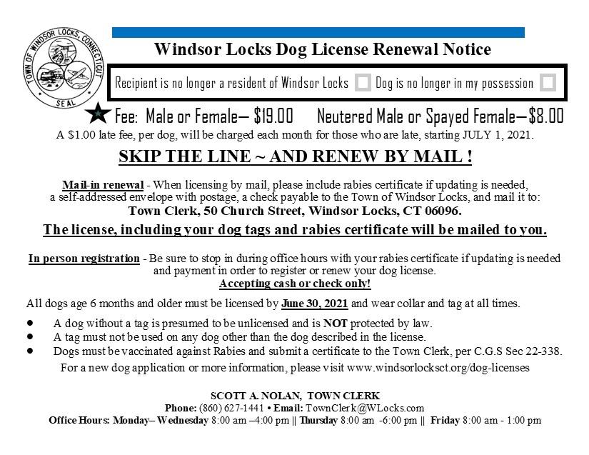 Windsor Locks Dog Lisences Post Card 2021